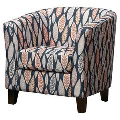 Add style to your space with a Portland Tub Accent Chair. This accent chair makes for comfy seating with its padded back and arms, deep seat and barrel shape.
