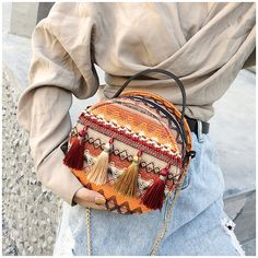 Women Polyester National Style Tassel Round Bag Shoulder Bag is designer, see other cute bags on NewChic. Clutch Bag, Crossbody Bag, Tote Purse, Fur Decor, Round Bag, Beach Casual, Boho Bags, Cute Bags, Casual Bags
