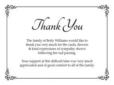 Best Funeral Thank You Cards  Funeral Expenses Charity Fund