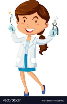 Female dentist with equipment vector image on VectorStock Dentist Cartoon, Illusion Pictures, Emergency Dentist, Dental Art, Math For Kids, Tooth Fairy, Art Images, Art Sketches, Female