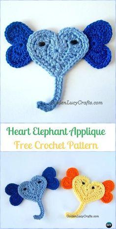 Crochet Heart Elephant Applique Free Pattern - Crochet Heart Shaped Applique Free Patterns By Golden Lucy Crafts