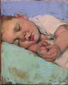Malcolm Liepke - 'Sleeping Baby' - Telluride Gallery of Fine Art this looks just like my Wesley when he was a baby!