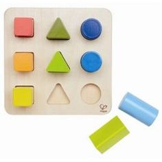 Colour and Shape Sorter by #Hape.  Can you find the green shape? Can you put all blue blocks by their size? Which wooden block is taller? Color and Shape Sorter Learning Toy by Hape combines a cognitive development toy with manipulative activity center in one box. This high quality 10 pcs shape sorter promotes sorting, counting, sorting, size, color and shape identification skills in children from toddlers to preschoolers.  #3littlemonkeys