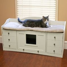 For Mimi Cat beds furniture. Top has cushioned area for kitty to lounge. Hide her litter box in the center that has a flip door. Keep cat toys, litter scoops and meal accessories in the additional storage on the sides. A unique cat bed! Hidden Litter Boxes, Litter Box Enclosure, Bed Bench, Cat Room, Unique Cats, Pet Furniture, Repurposed Furniture, Furniture Ideas, Pet Beds