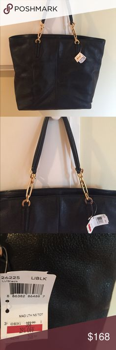 Coach black tote Black leather tote. Non smoking house. Gold chain partial on strap Coach Bags Totes