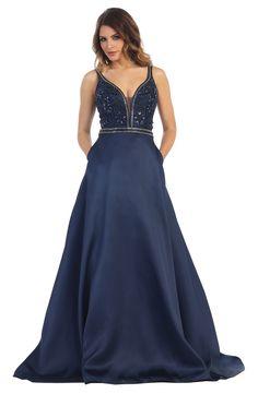 Long Formal Prom Ball Gown Evening Dress Modern Designer