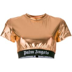 Palm Angels cropped sequin top (1.625 BRL) ❤ liked on Polyvore featuring tops, metallic, sequin embellished top, lycra crop top, sequin top, lycra top and sequin crop tops