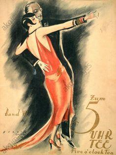 """DANCE PARTN./ COVER OF """"ZUM 5 UHR TEE"""". Music / Dance / Social Dancing: Dance partners. Cover of: Zum 5 Uhr Tee (Five o'clock tea), Eine Sammlung 20 ausgewählter Tanz–, Operetten– u. Liederschlager, Leipzig a. Vienna (A.Benjamin u. Wiener Boheme-Verlag), n. d. (1926). Graphic design: Herzig, Berlin."""