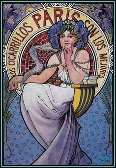 Illustration by Alphonse Mucha for Paris cigars, 1898, posted on Flickr by mpt.1607 #Mucha #illustration #Nouveau