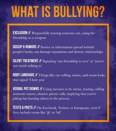 It's not always easy to determine bullying behavior. How do you know if you're the victim of good-natured ribbing or bullying? What Is Bullying, Stop Bullying, Anti Bullying, Teen Bullying, Bullying Lessons, Bullying Quotes, Bullying Activities, Examples Of Bullying, Diversity Activities
