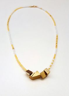 Bead & Brass Nugget Necklace by 8kinds on Etsy