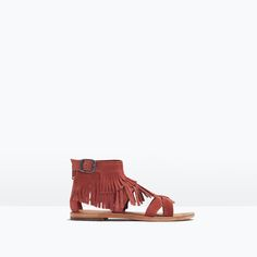 LEATHER SANDALS WITH FRINGES from Zara Girls