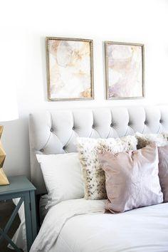 Neutral Bedroom Tour | Blogger Bedroom Tour | Velvet Headboard and Velvet Pillows | Neutral Pastel Bedding