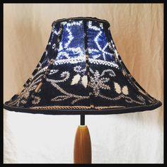 Regroovinator: A beautiful bell-shaped lamp shade, made with vintage Indigo tie-dye fabric.