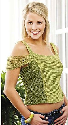 Chain-Sleeve Tank from the web bonuses of Crochet! magazine. Yes, we *can* have the sexy in crochet.
