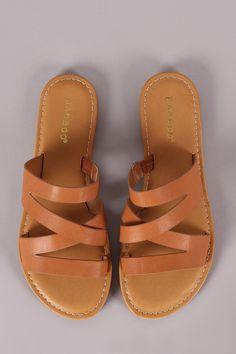 248b136bada7 Bamboo Open Toe Strappy Slide Sandal