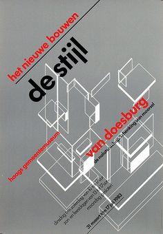 De Stijl poster by Wim Crouwel, 1938 Mondrian, Bauhaus, Design Graphique, Art Graphique, Typography Inspiration, Graphic Design Inspiration, Design Ideas, Graphic Design Typography, Graphic Design Illustration