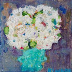 Petite Hydrangea 16x16 #mixedmedia #painting @shaingallery #blue #hydrangea #giftideas #fineart #interiordesign