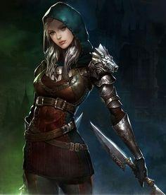 Female Human Sword Leather Armor Fighter Rogue Assassin Swashbuckler Thief - Pathfinder PFRPG DND D&D fantasy Fantasy Warrior, Fantasy Rpg, Fantasy Artwork, Woman Warrior, Elf Warrior, Medieval Fantasy, Dnd Characters, Fantasy Characters, Female Characters