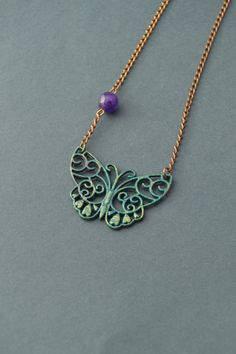 Green Blue butterfly necklace with amethyst gemstone bead, teal patina filigree butterfly pendant necklace , Woodland jewelry