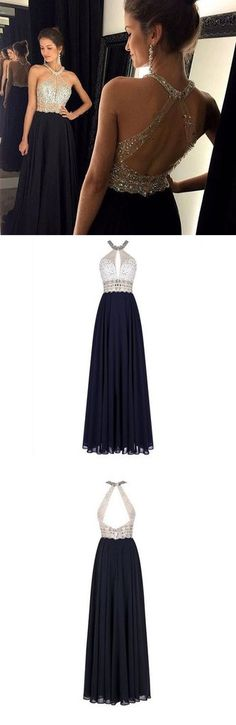 Gorgeous Long Prom Dresses,Halter Prom Dresses,A-Line Prom Dresses,Chiffon Prom Dresses,Beading Prom Dresses This dress could be custom made, there are no extra cost to do custom size and color. Descr