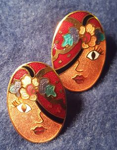 40's Oval Earrings Womans Face by NeeNeeWorld on Etsy