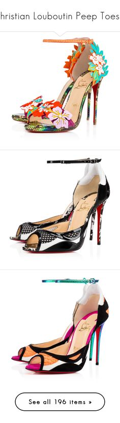 """""""Christian Louboutin Peep Toes II"""" by sakuragirl ❤ liked on Polyvore featuring shoes, sandals, christian louboutin, heels, louboutin, version multi, ankle wrap sandals, christian louboutin sandals, heeled sandals and ankle strap sandals"""