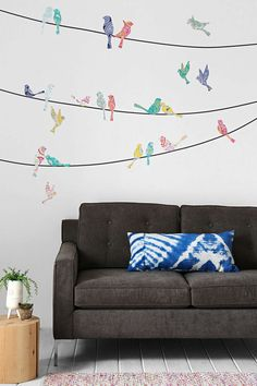 Walls Need Love Paisley Birds On Wire Wall Decal (Urban Outfitters) -- for the walls going upstairs??
