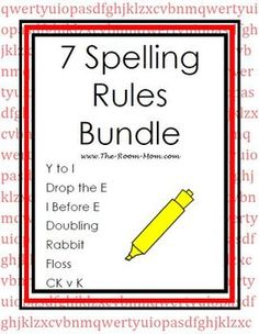 7 Spelling Rules Bundle-- lists, activity pages, and tests for upper elementary students, most common spelling rules in English language (drop the E, doubling, floss, rabbit, etc.) $