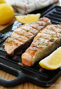 Grilled Garlic Dijon Herb Salmon #Skinnytaste