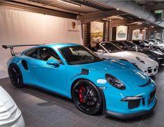 Porsche 991 GT3 RS painted in Miami Blue Photo taken by: @aymericborirvent on Instagram
