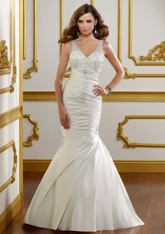 #MoriLee Style 1810 - Lustrous satin with embroidery.  V-neck mermaid style.   Colors Available: White/Silver, Ivory/Silver, Candlelight/Silver.