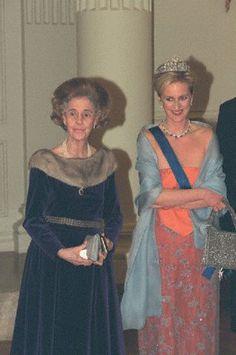 (L-R) Queen Fabiola and Princess Astrid of Belgium in 1999