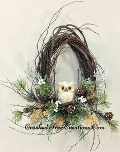 Small Birch Wreath With Owl