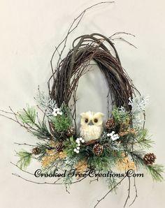 Small Birch Wreath With Owl