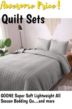 GOONE Super Soft Lightweight All Season Bedding Quilt Sets,Filling with Skin Friendly Breathable Hydrophillic Down Alternative, Multipurpose As Bedspread Thin Comforter with 2 Shams Solid Color ... (This is an affiliate link) #quiltsets