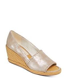 Jack Rogers Women's Palmer Wedge Heel Espadrille Sandals In Silver Peep Toe Espadrilles, Espadrille Sandals, Shoes Sandals, Jack Rogers Shoes, Shoes Photo, Bean Boots, Southern Marsh, Southern Tide, Southern Prep