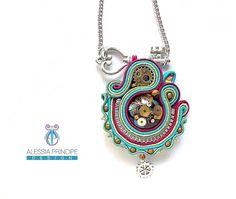 Alessia Principe Design  Steampunk soutache pendant