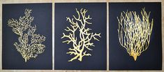 "Gold Coral Paintings on Paper 8.5"" x 11"" with 24k Gold Acrylic Paint Set of…"