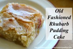 Old Fasioned Rhubarb Pudding. This rhubarb pudding cake recipe is easy to make using fresh or frozen rhubarb. A simple hot water trick allows the cake to make its own sauce while baking. Rhubarb Desserts, Just Desserts, Delicious Desserts, Yummy Food, Rhubarb Dishes, Rhubarb Pudding Cake, Rhubarb Cake, Sweet Recipes, Cake Recipes