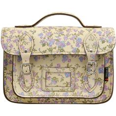 Yoshi Dewhurst Satchel / Small Leather Work Bag (Cream Floral) by Yoshi Lichfield Autumn Winter 2012 AW12 - £70.00 available from www.kubi.co.uk - The perfect school college or University bag for Back to School.