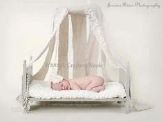 Large Traditional Newborn Photography Prop Baby Doll Posing Bed with Foam Mattress- DIY Ready to Stain or distress Photo Props on Etsy, $45.00