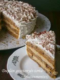 GF Hungarian cake with Chestnut Purée (translate); Gluten Free Desserts, Healthy Desserts, Gluten Free Recipes, Hungarian Cuisine, Hungarian Recipes, Hungarian Cake, Hungarian Food, Tea Cakes, Cake Cookies