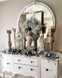 Dining room buffet all fluffed for the holidays. Amy Kinser