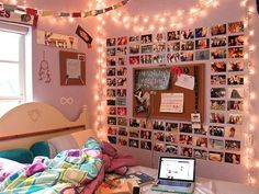 Adorable room- love the fairy lights- would love to do something like this with a cork-board as well :)
