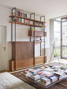 Interior Design Boards, Arch Interior, Furniture Design, Living Room Divider, Living Room Decor, Living Spaces, Mid Century Wall Unit, Bookshelves In Living Room, Eclectic Design