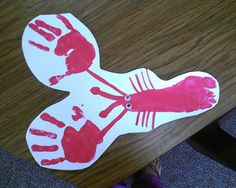 Under the sea theme! Lobster I did with my class footprint for body and handprint for claws!