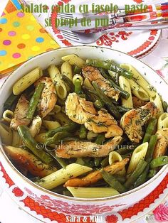 Chicken, Bean and Pasta Salad Cooking Recipes, Healthy Recipes, Healthy Foods, Yummy Recipes, Recipies, Pasta Salad Recipes, Green Beans, Main Dishes, Chicken Recipes