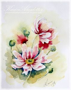 Sunday Watercolors; Flowers