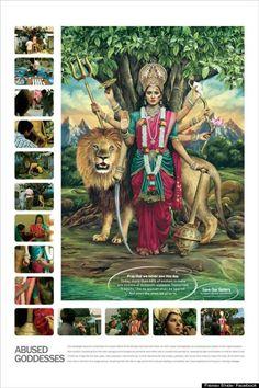 Abused Hindu Goddesses: Indian Domestic Violence Campaign Features Lakshmi, Durga And Saraswati